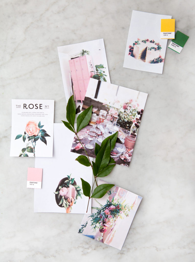 Photo of several photos laying on marble background, all containing common rose, yellow and green colours as a theme.
