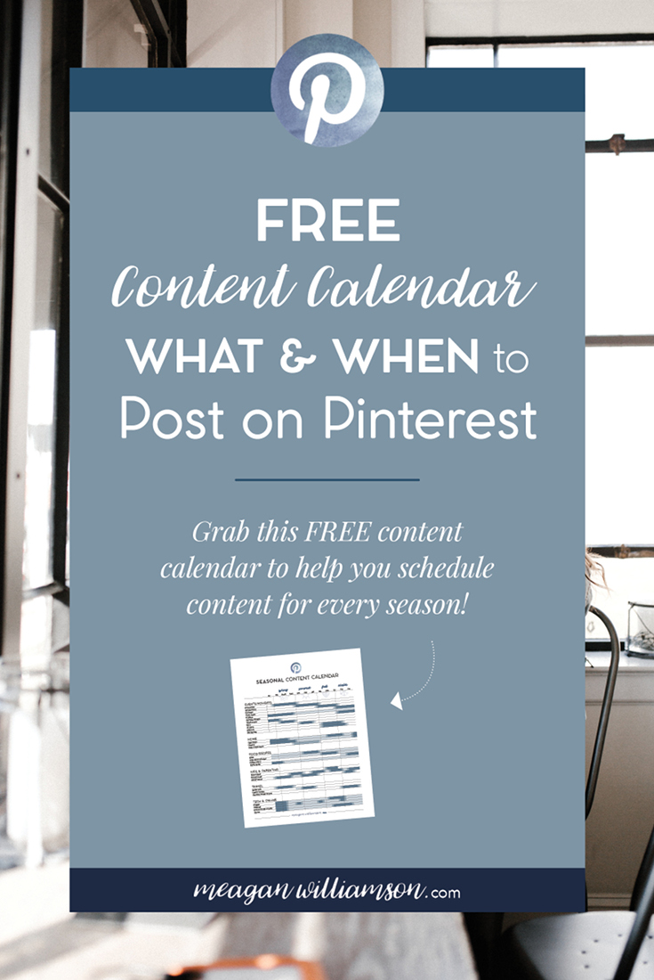 What and when to post on Pinterest - a FREE printable seasonal content calendar to help you plan your Pinterest schedule. #Pinteresttips #contentcalendar #bloggingtips