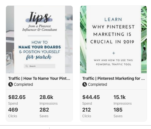 Screencapture of completed ad campaign results on Pinterest
