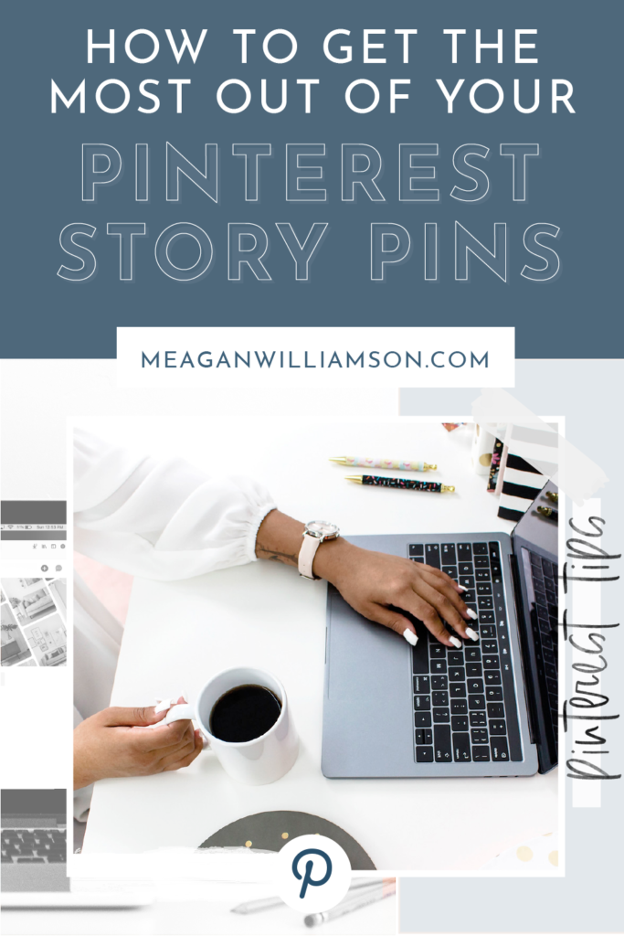Black woman typing on laptop with Pinterest Story Pin text overlay