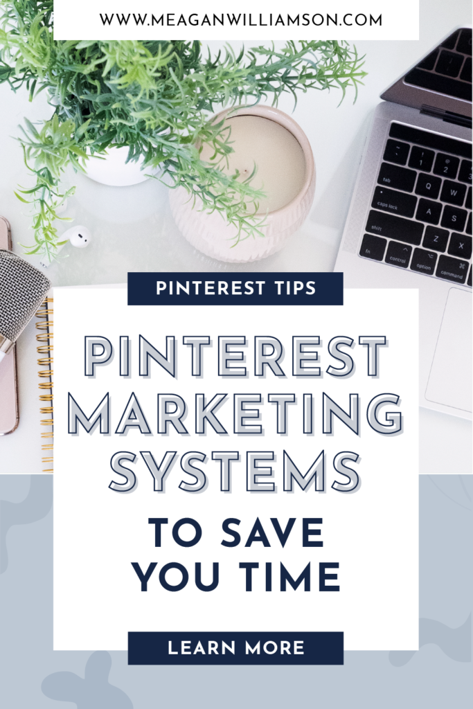 Promotional graphic for blog post by Meagan Williamson on Pinterest workflow tips and strategies